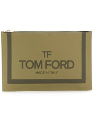 Tom Ford Logo Print Pouch Green