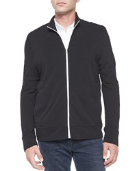 James Perse Full Zip Slub Knit Jacket Black