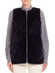 Lafayette 148 New York Bountiful Faux Fur Kieran Vest Galaxy Blue