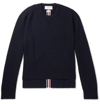Thom Browne Striped Waffle Knit Merino Wool Sweater Navy