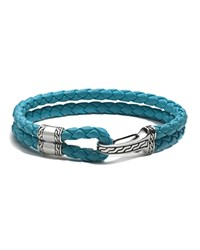 John Hardy Men's Classic Chain Silver Hook Station Bracelet On Turquoise Blue Leather Cord