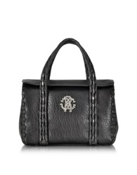 Roberto Cavalli Regina New Chain Black Leather Small Satchel