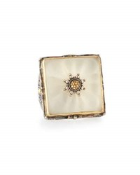 Konstantino Square Crystal Flower Statement Ring