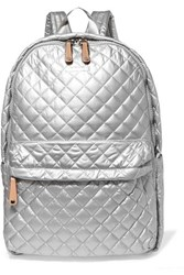 M Z Wallace Mz Metro Leather Trimmed Metallic Quilted Shell Backpack Silver