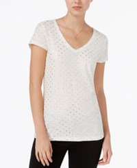 Maison Jules Bow Print T Shirt Only At Macy's Egret Combo