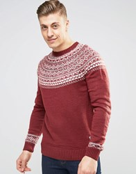 Bellfield Crew Neck Jacquard Knitted Jumper Red