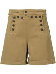 A.L.C. High Waisted Button Shorts Brown