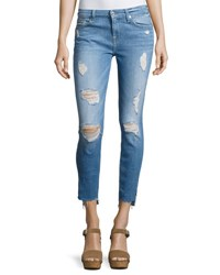7 For All Mankind Distressed Ankle Skinny Jeans With Step Hem Indigo