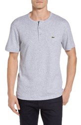 Lacoste Men's Double Face Henley T Shirt Silver Chine