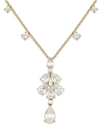 Eliot Danori Silver Tone Cubic Zirconia Flower Teardrop Y Necklace