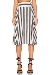 J.O.A. Stripe Midi Skirt Navy