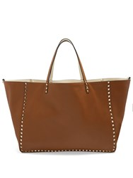 Valentino Rockstud Reversible Leather Tote Tan White