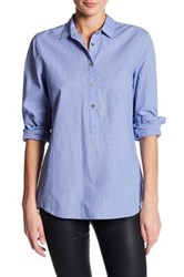 Andrea Jovine Long Sleeve Chambray Popover Blue