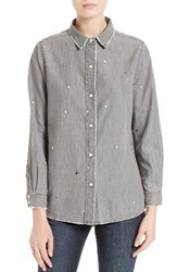 The Great Women's Great. Campus Shirt Cargo Wash Dot Embroidery