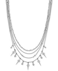 Bcbgeneration Silver Tone Multi Layer Statement Necklace