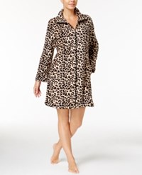 Miss Elaine Plush Fleece Zip Front Short Robe Tan Black Leopard