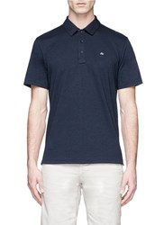 Rag And Bone 'Standard Issue' Cotton Jersey Polo Shirt Blue