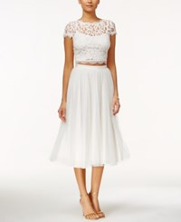 Adrianna Papell Cap Sleeve Lace Crop Top White