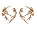 Shaun Leane Silver Rose Gold Cherry Blossom Hoops With Diamonds And White Pearls