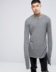 Asos Crew Neck Jumper With Extreme Sleeves Blk And Wht Twist Grey