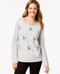 Style And Co. Petite Long Sleeve Deer Print Sweatshirt Only At Macy's Light Grey Heather