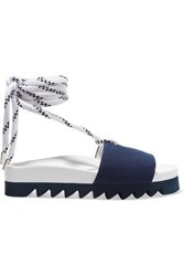 Joshua Sanders Blue Sailor Canvas Slides Navy