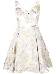 Marchesa Notte Floral Skater Dress White