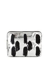 3.1 Phillip Lim 31 Minute Metallic Leather Cosmetic Bag Silver Black