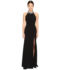 Marchesa Crepe Halter Gown With Slit And Beaded Choker Black Women's Dress
