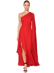 Elie Saab Long One Shoulder Silk Crepe Dress Red