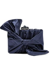 Oscar De La Renta Rogan Bow Embellished Satin Clutch Navy