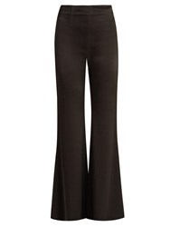 Galvan High Rise Wide Leg Satin Trousers Black