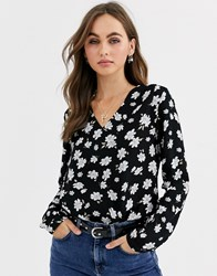Pimkie Floral Print Blouse In Black
