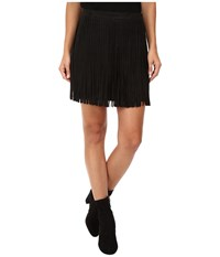 Bb Dakota Barton Faux Suede Finge Skirt Black Women's Skirt