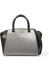 Dkny Two Tone Textured Leather Tote Gray