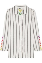 All Things Mochi Nina Embroidered Striped Linen Shirt Off White Gbp