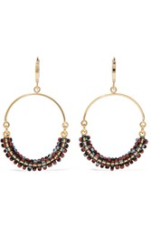 Isabel Marant Gold Tone Beaded Hoop Earrings One Size