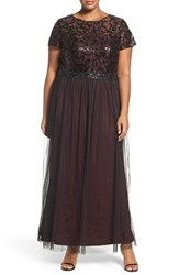 Brianna Plus Size Women's Sequin Lace And Tulle Gown
