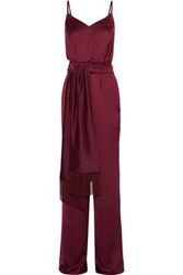 Iris And Ink Hazel Belted Satin Jumpsuit Claret