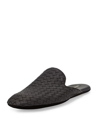 Bottega Veneta Men's Woven Leather Scuff Slipper Black
