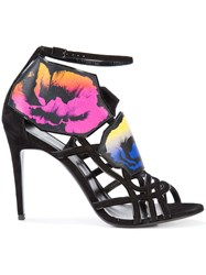 Pierre Hardy Floral Print Strappy Sandals Women Leather 37 Black
