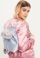 Missguided Blue Satin Embroidered Backpack