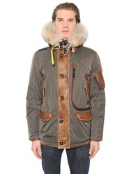 Parajumpers Nylon Down Jacket W Shearling And Fur