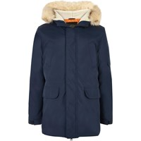 River Island Mens Navy Blue Faux Fur Trim Hooded Parka