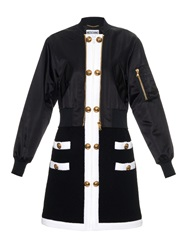 Moschino Button Embellished Satin And Toweling Coat