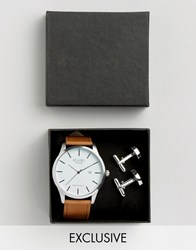 Reclaimed Vintage Tan Leather Watch And Silver Cufflihnks Gift Set Tan Silver