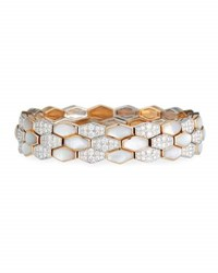 Picchiotti Hexagonal Mother Of Pearl And Diamond Bracelet In 18K Rose Gold