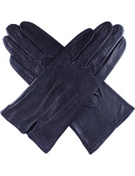 Dents Peccary Effect Leather Gloves Navy