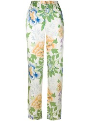 Kenzo Vintage Floral Print Trousers White