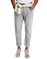 Brunello Cucinelli Relaxed Fit Washed Denim Jeans Light Gray